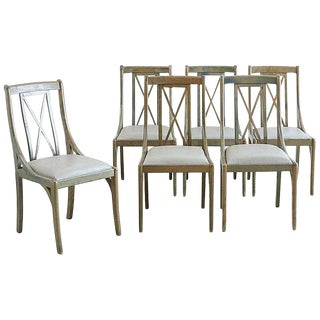 Set of Six Lacquered Neoclassical Dining Chairs For Sale