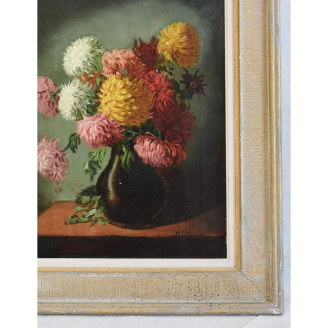 M E Wright Chrysanthemum in Vase Framed Floral Oil Painting For Sale - Image 4 of 10