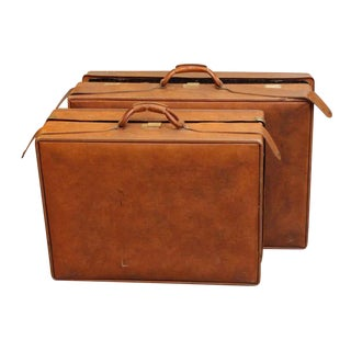 Vintage Mid-Century Hartmann Leather Suitcases - A Pair For Sale