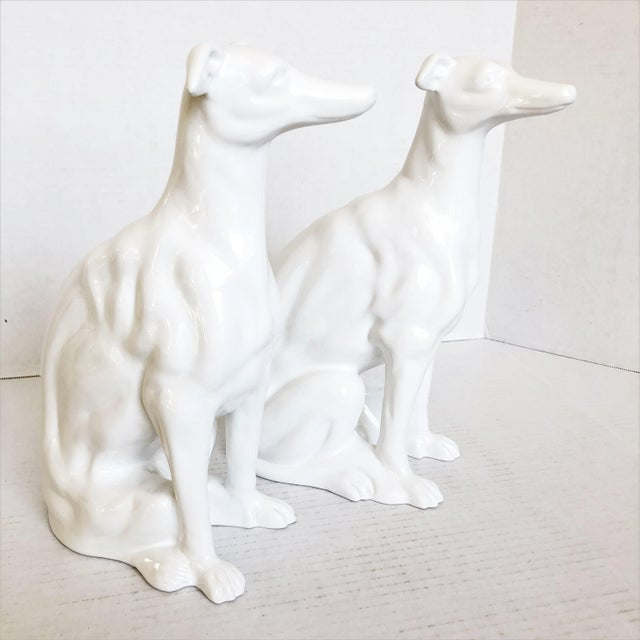 White Ceramic Greyhound Sculptures - a Pair For Sale In Los Angeles - Image 6 of 6