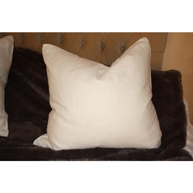 Large Belgium Cream Linen European Pillows - a Pair - Image 4 of 6