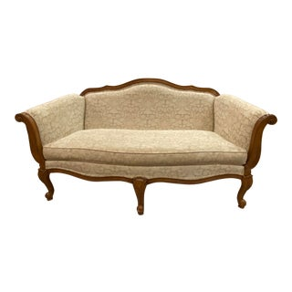 1990s Vintage Cream Upholstered French Loveseat For Sale