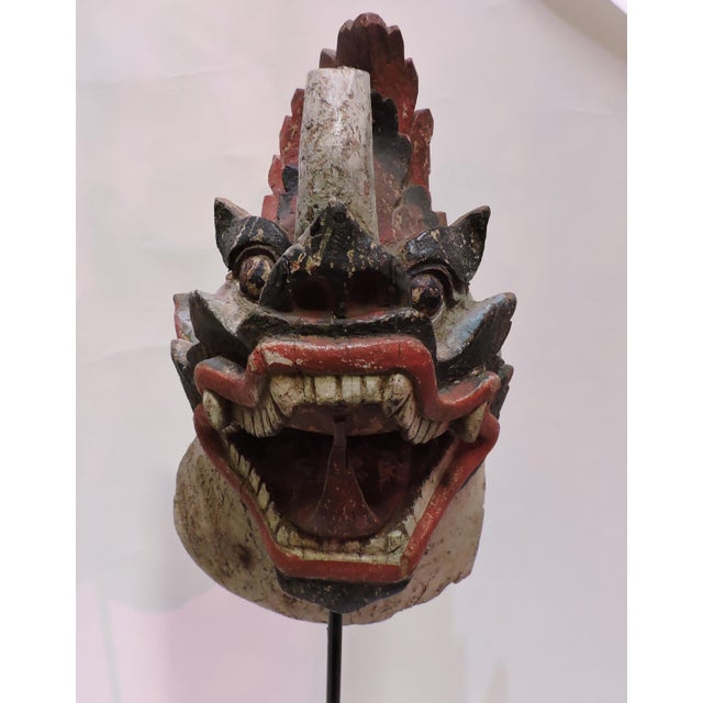 None Antique Burmese Wooden Dragon Head For Sale - Image 4 of 4