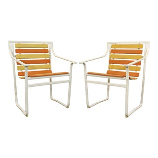 Pair of Mid-Century Modern Rare Samsonite Outdoor Patio Steel Tube Arm Chairs For Sale