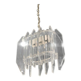 Hollywood Regency Geometric Lucite Chandelier For Sale