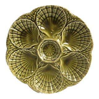 French Green Majolica Oyster Plate Sarreguemines, circa 1930 For Sale