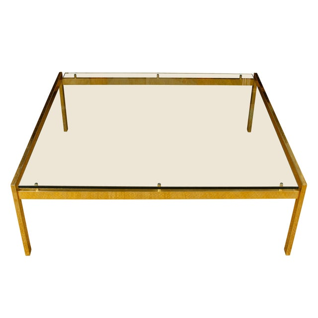 Mid-Century Modern Large Mid-Century Modern Brass and Glass Square Table For Sale - Image 3 of 5