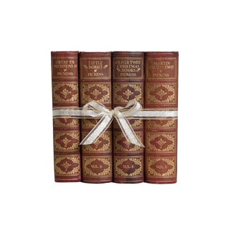 Weathered Leather Dickens Gift Set, (S/4) For Sale