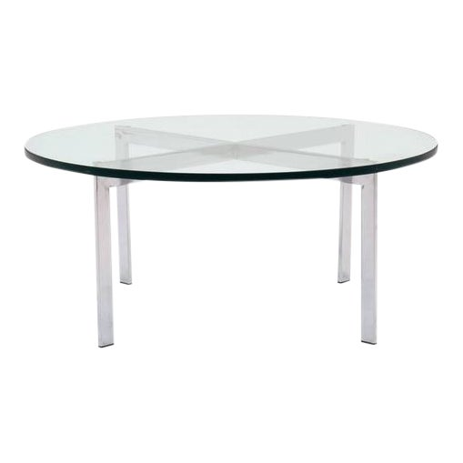 Milo Baughman for Thayer Coggin, Round Chrome and Glass Coffee Table For Sale