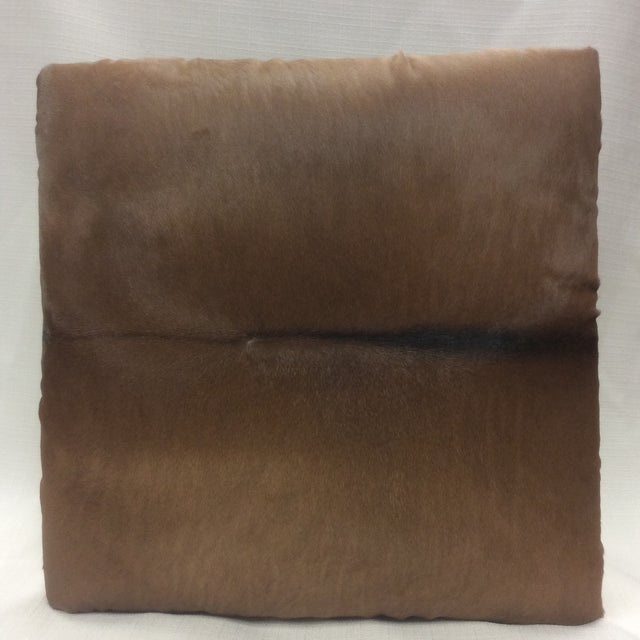 Cowhide Leather & Laurel Wood Footstool - Image 4 of 7