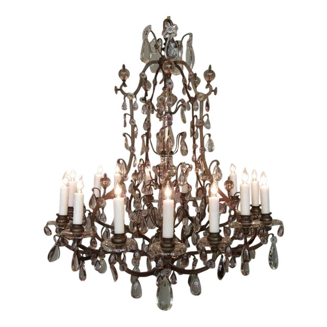 Early 20th C Italian Patinated Bronze, Crystal and Amethyst Chandelier For Sale
