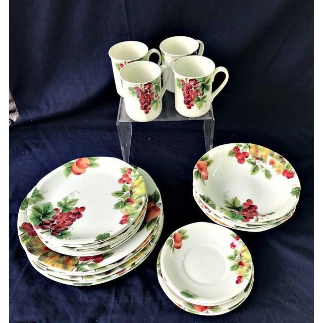 """Vintage Grape Pattern TC1193. Discontinued in 2004. You will Receive: 6) Dinner Plates 10 5/8 4) Mugs 3"""" x 3 3/4 2)..."""