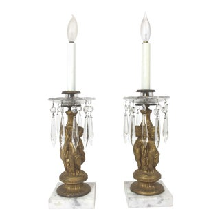 1940s Putti Boudoir Brass and Crystal Candle Stick Lamps - a Pair For Sale