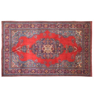 Hand-Knotted Persian Tabriz Wool Area Rug - 7′2″ × 10′4″ For Sale
