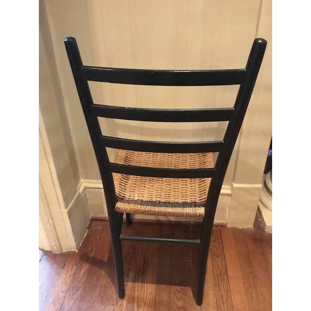 Minimalism Vintage Mid Century Gio Ponti Black Lacquer Woven Ladder Back Chairs-A Pair For Sale - Image 3 of 7