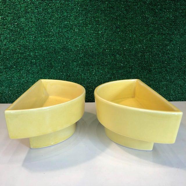 Ceramic Yellow Ikebana Planters, Pair For Sale - Image 7 of 8