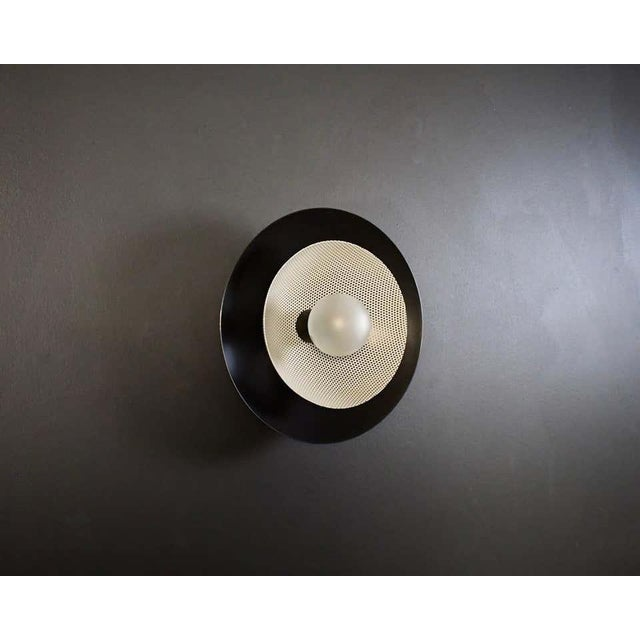 Mid-Century Modern Centric Wall Sconce in Oil-Rubbed Bronze & White Enamel Mesh, Blueprint Lighting For Sale - Image 3 of 7
