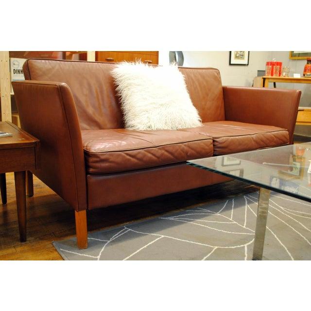 Danish Modern Leather Love Seat - Image 5 of 6