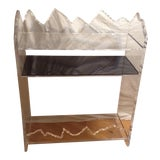 Image of Mid Century Modern Lucite and Chrome With Black Glass Shelving Unit 3 Shelf Display For Sale
