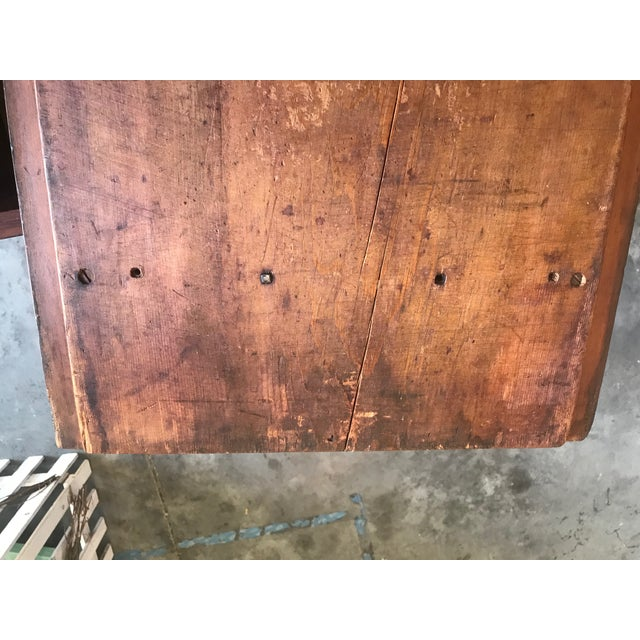 Rustic Antique Primitive Blue / Nutmeg Stain Doughbox Table For Sale - Image 3 of 5