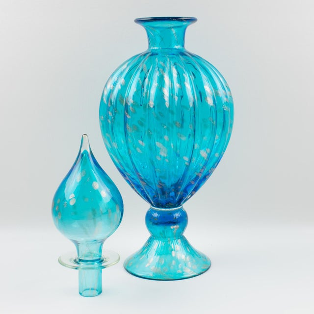 Late 20th Century Italian Empoli Hand Blown Turquoise Glass Lidded Apothecary Jar Dispenser For Sale - Image 5 of 13