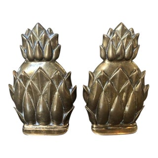 Brass Pineapple Bookends - a Pair For Sale