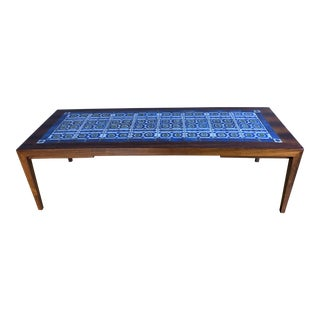 1960s Severin Hansen Rosewood & Tile Coffee Table For Sale