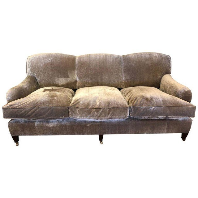 Brass Modern George Smith Taupe Silk Velvet Sofa For Sale - Image 7 of 12