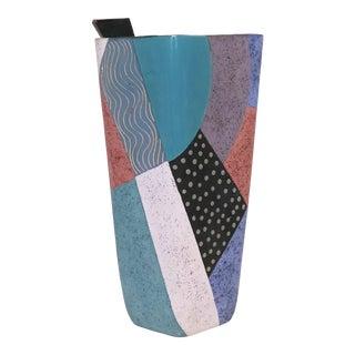 Memphis Styled, Ceramic Art Vase, Signed Madelyn T. For Sale
