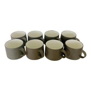 Mid-Century Jens H. Quistgaard for Dansk Matte Flamestone Pottery Cups - Set of 8 For Sale