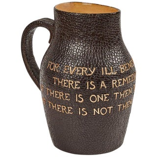 1920s Original Royal Doulton Leather Pitcher Decorated With Writing For Sale