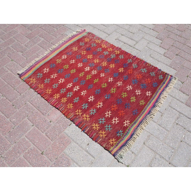Vintage Turkish Kilim Rug - 3′ × 3′8″ - Image 2 of 8