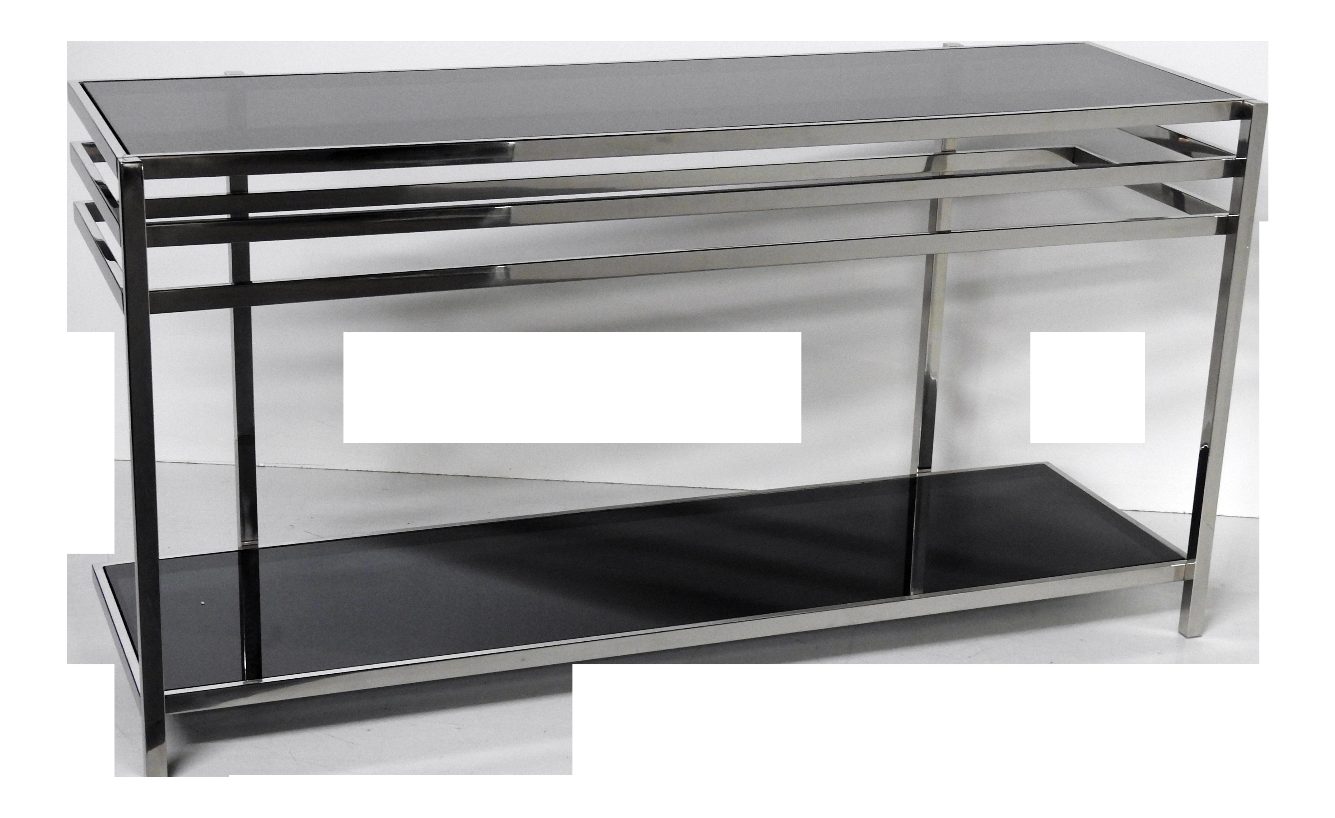 Industrial Modern Chrome U0026 Glass Console Table