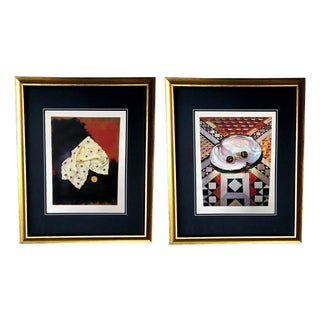 Framed Gucci Abstract Bee Scarf & Coin Geometric Oyster Cuff Links Illustration Art - a Pair For Sale