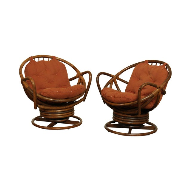 Mid Century Pair Rattan Swivel Rocking Lounge Chairs For Sale - Image 13 of 13