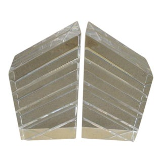 1970s Ritts Co. Astrolite Lucite Bookends- a Pair For Sale