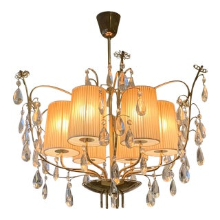 Rare Paavo Tynell by Taito Oy Whimsical Crystal and Brass Chandelier For Sale