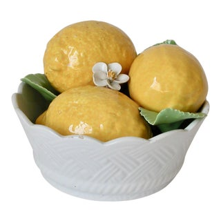 20th Century Traditional White and Yellow Ceramic Bowl of Lemons Figurine