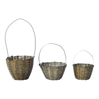 Collection of Antique German Christmas Ornament Baskets - Set of 3 For Sale