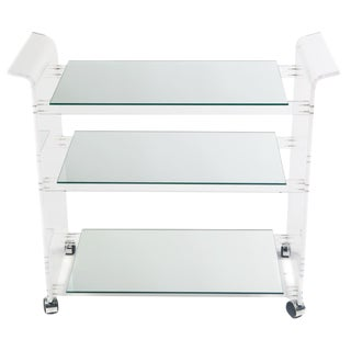 1970s Mid-Century Modern Lucite and Mirror Bar Cart For Sale