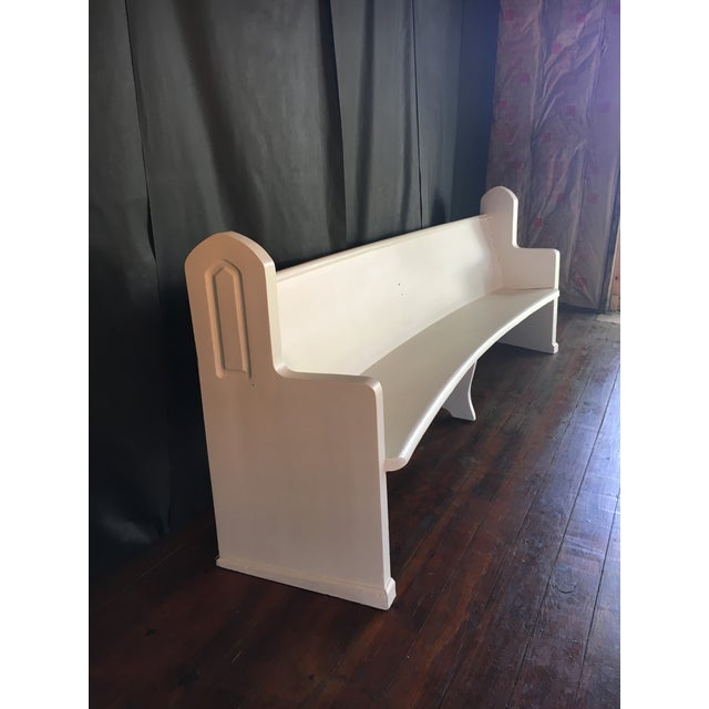 Once a velvet covered church pew...now an awesome painted bench for your porch! This wooden church pew was in desperate...