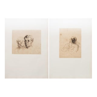 "1959 Honoré Daumier, Original ""Study of Heads"" Vintage Hungarian Photogravures, a Pair For Sale"