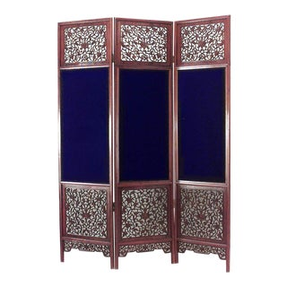 Chinese Teak 3-Fold Screen For Sale