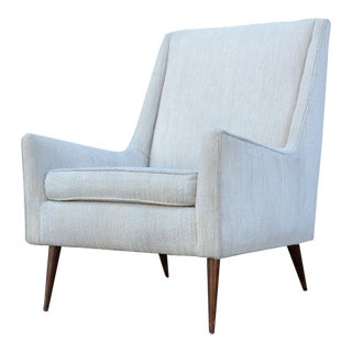 1950s Mid Century Modern Upholstered Lounge Chair For Sale