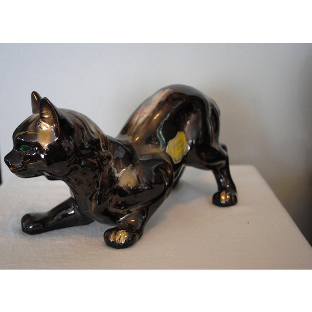 "Vintage 'Golden Bronze"" Ceramic Crouching Cat Figurine For Sale - Image 4 of 8"