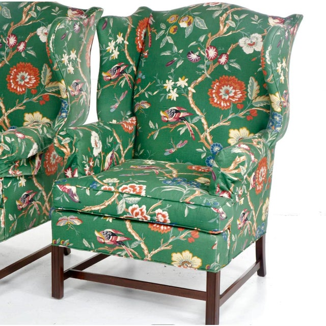 Vintage George III Style Wingback Chairs - a Pair For Sale In Chicago - Image 6 of 10