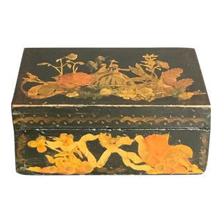 Vintage English Box Carved Wood Decoupage With Flower Decoration For Sale