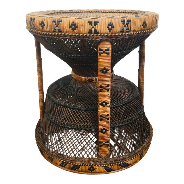 Vintage Bohemian Chic Rattan / Wicker Peacock Table For Sale