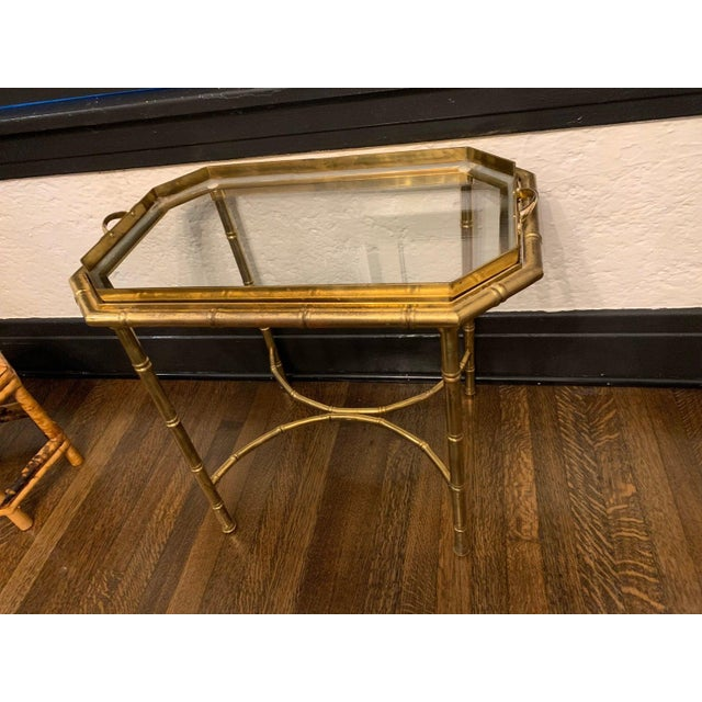 Hollywood Regency Vintage Hollywood Regency Brass Bamboo Tray Table For Sale - Image 3 of 11