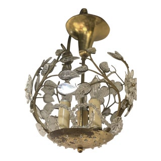 1930's French Floral Glass and Brass Light Fixture For Sale